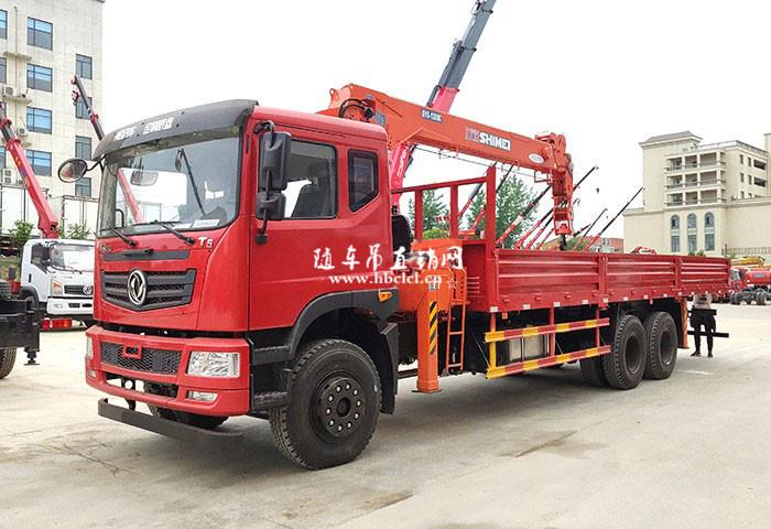 东风T5短轴距后八轮12吨石煤随车自备吊
